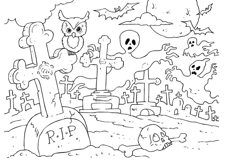 750x531 Coloring Page Halloween Graveyard