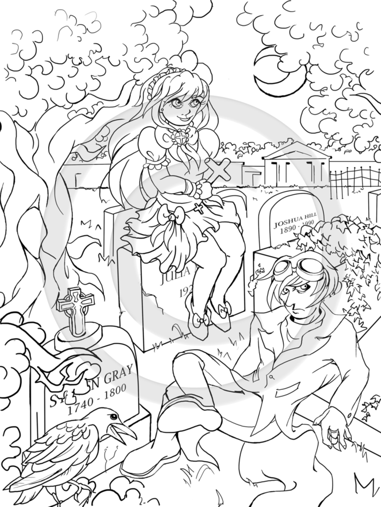 775x1031 The Graveyard Lineart By Infinessence