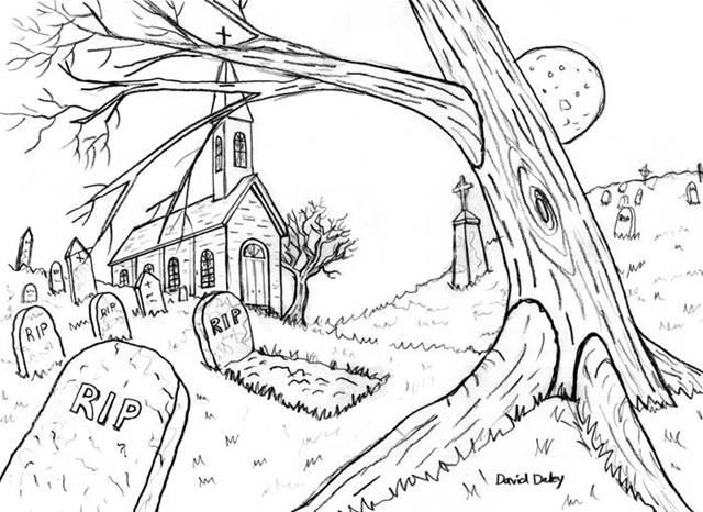 640x466 Drawings Of Graveyards