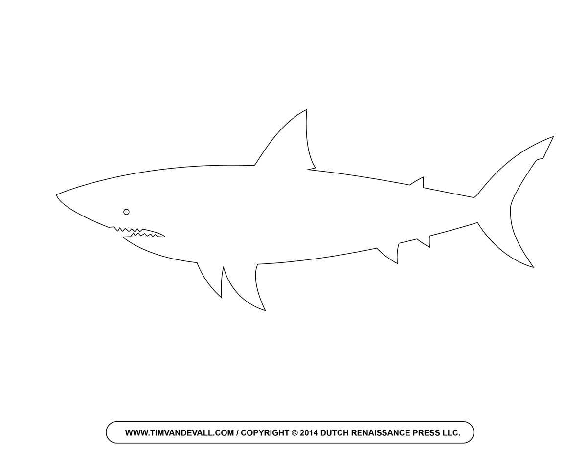 1200x927 Shark Pattern. Use The Printable Outline For Crafts, Creating