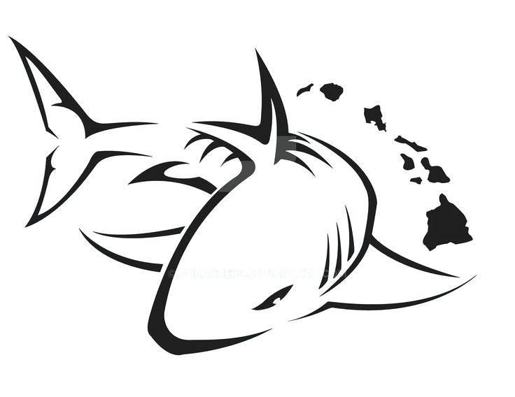 736x568 Great White Shark Outline