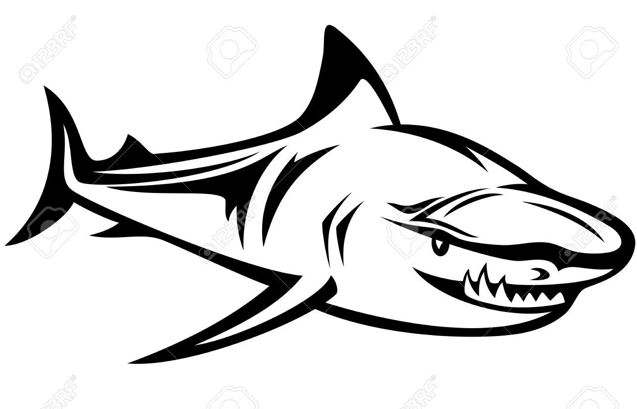 1300x835 Aggressive Shark Black And White Outline Royalty Free Cliparts