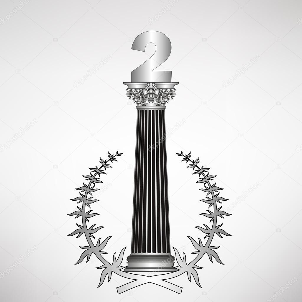 1024x1024 Greece Column, Laurel Wreath And Number. Eps10 Vector Illustration