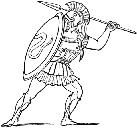 480x447 Ancient Greek Soldier Coloring Page Free Printable Coloring Pages