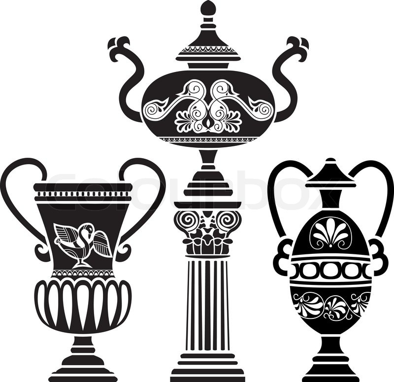 800x775 Ancient Greek Vase On Column. Stencil Set Third Variant Stock