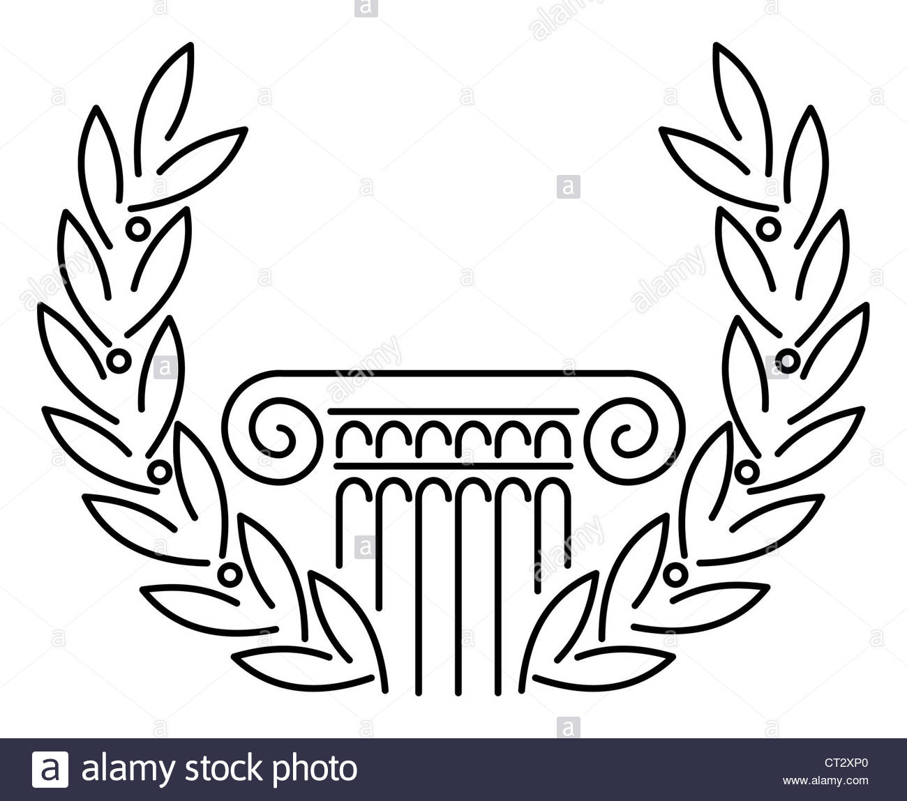1300x1149 Antique Greek Column And Laurel. Vector Illustration Stock Photo
