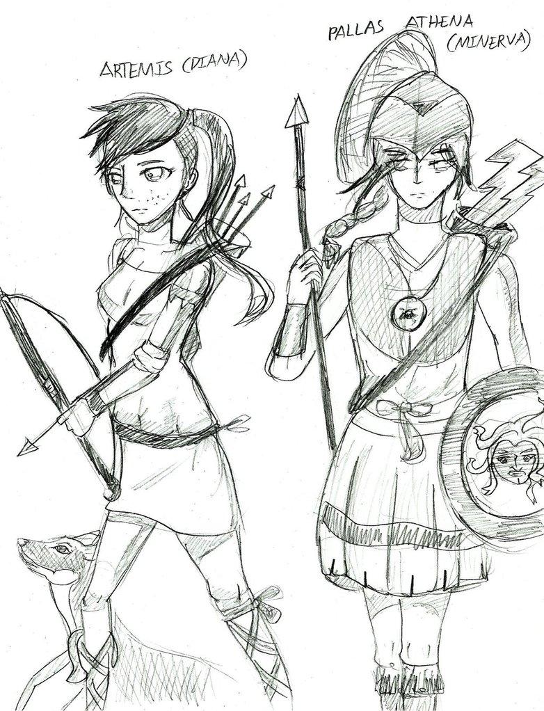 782x1022 Greek Mythology Athena And Artemis (Sketch) By Anonymous112358096