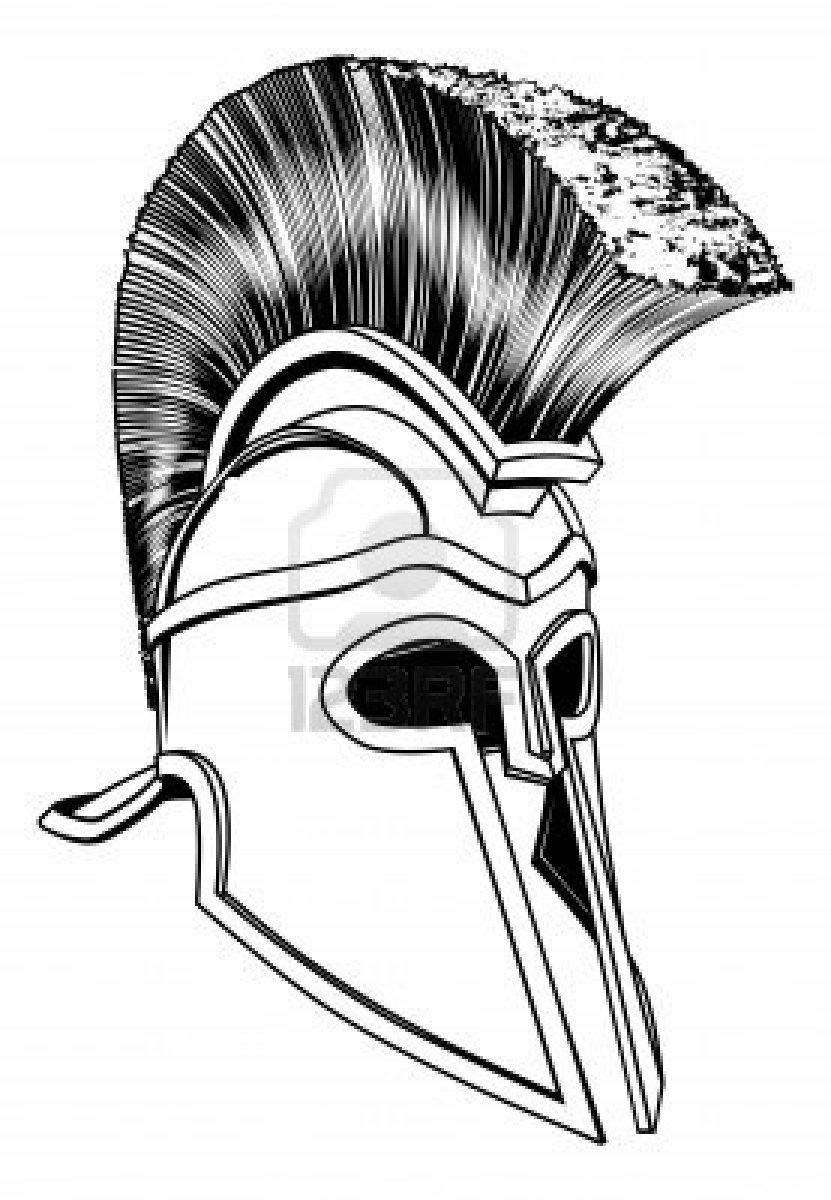831x1200 Monochrome Illustration Of A Bronze Corinthian Or Spartan Helmet