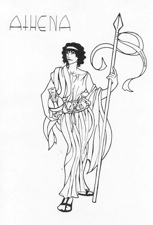 600x883 Goddess Athena Coloring Easy Page Image Clipart Images