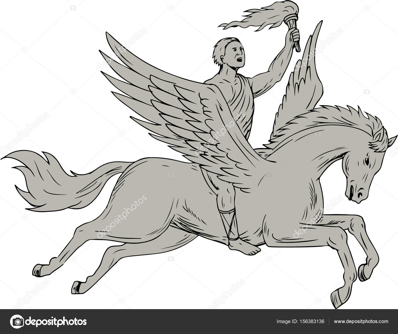 1600x1343 Bellerophon Riding Pegasus Holding Torch Drawing Stock Vector