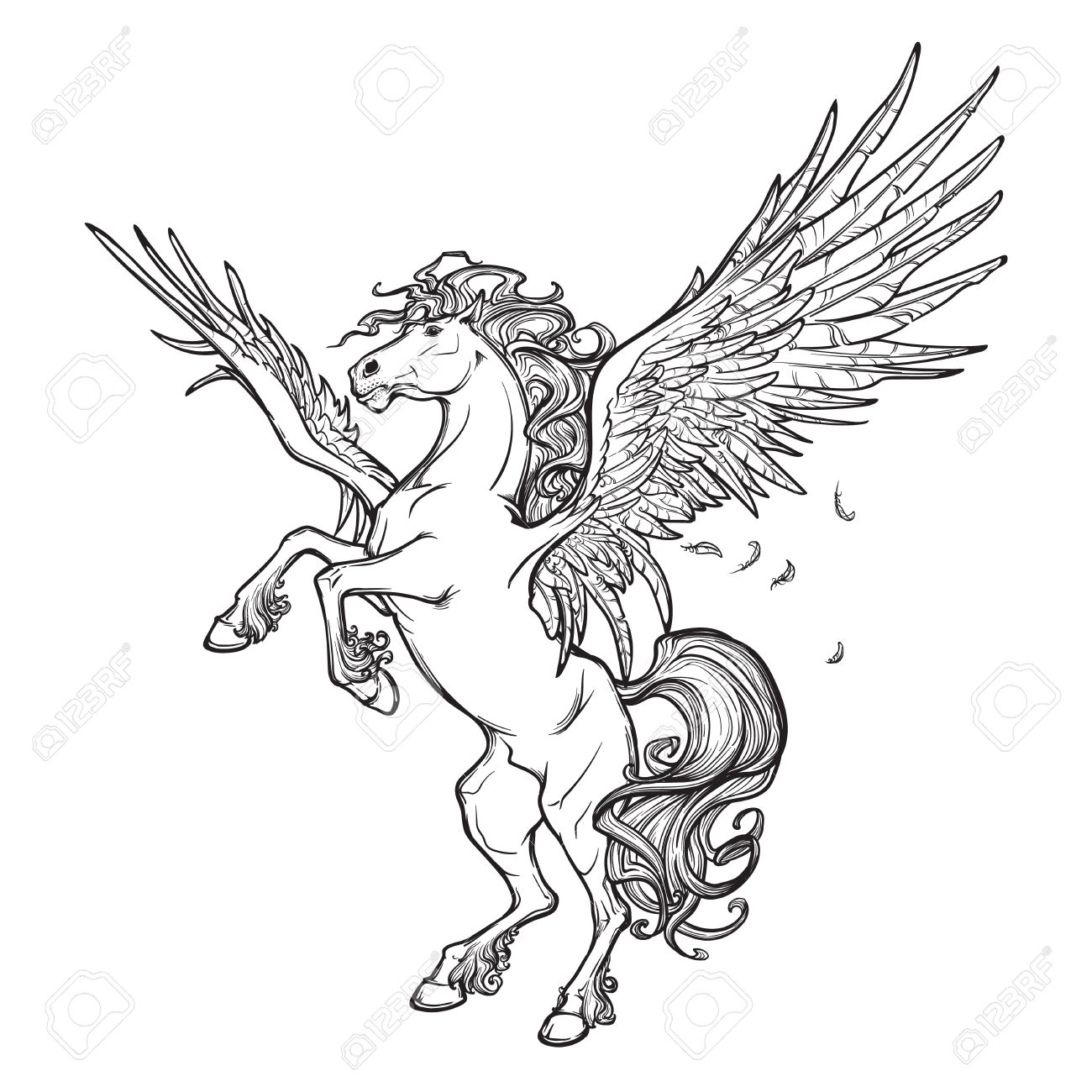 1300x1300 Pegasus Greek Mythological Creature. Legendary Beast Concept
