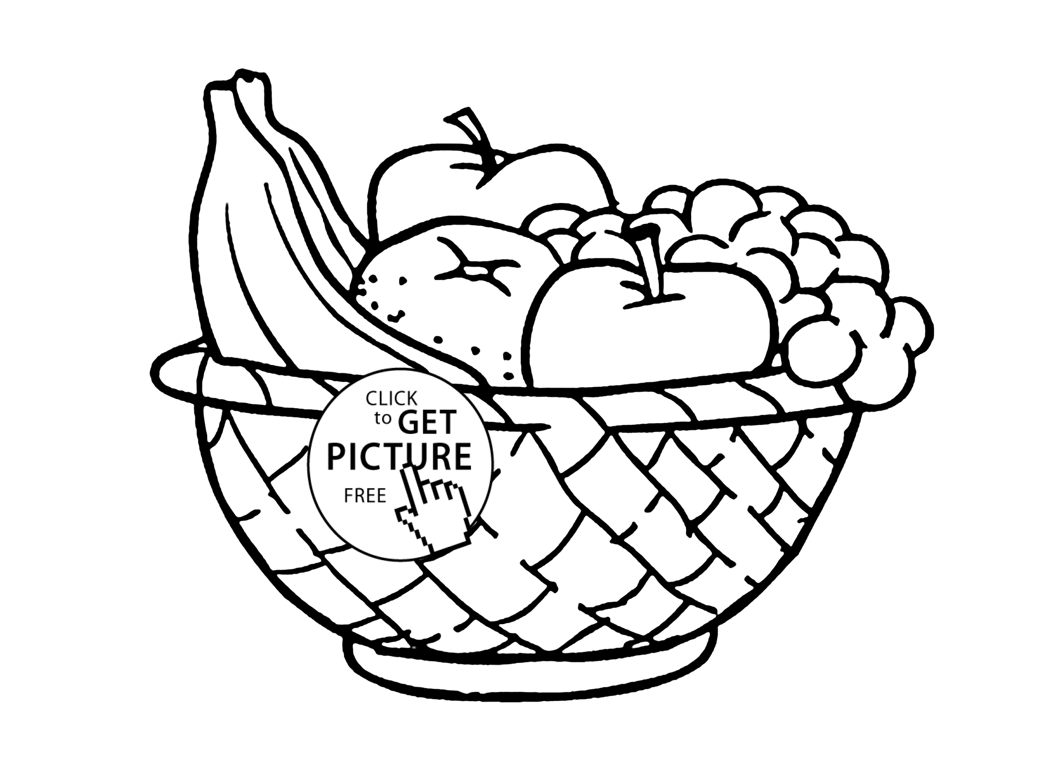 2080x1490 Drawing Of Fruit Basket For Kids Red Apple Green Apple Fruits
