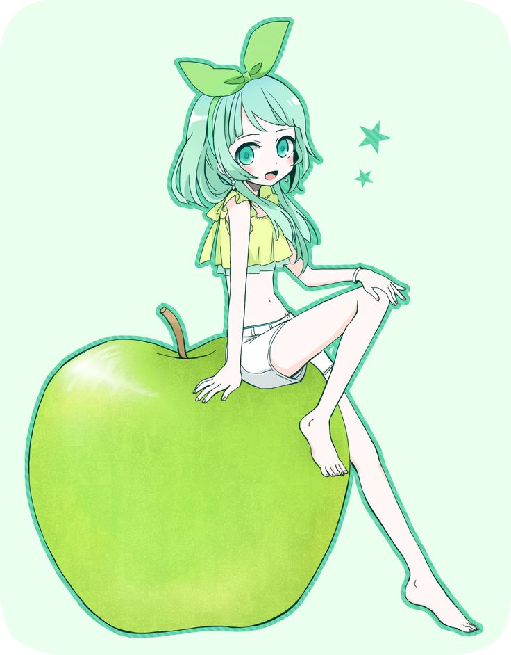 736x942 Green Apple Just Pretty Anime And Illustrations