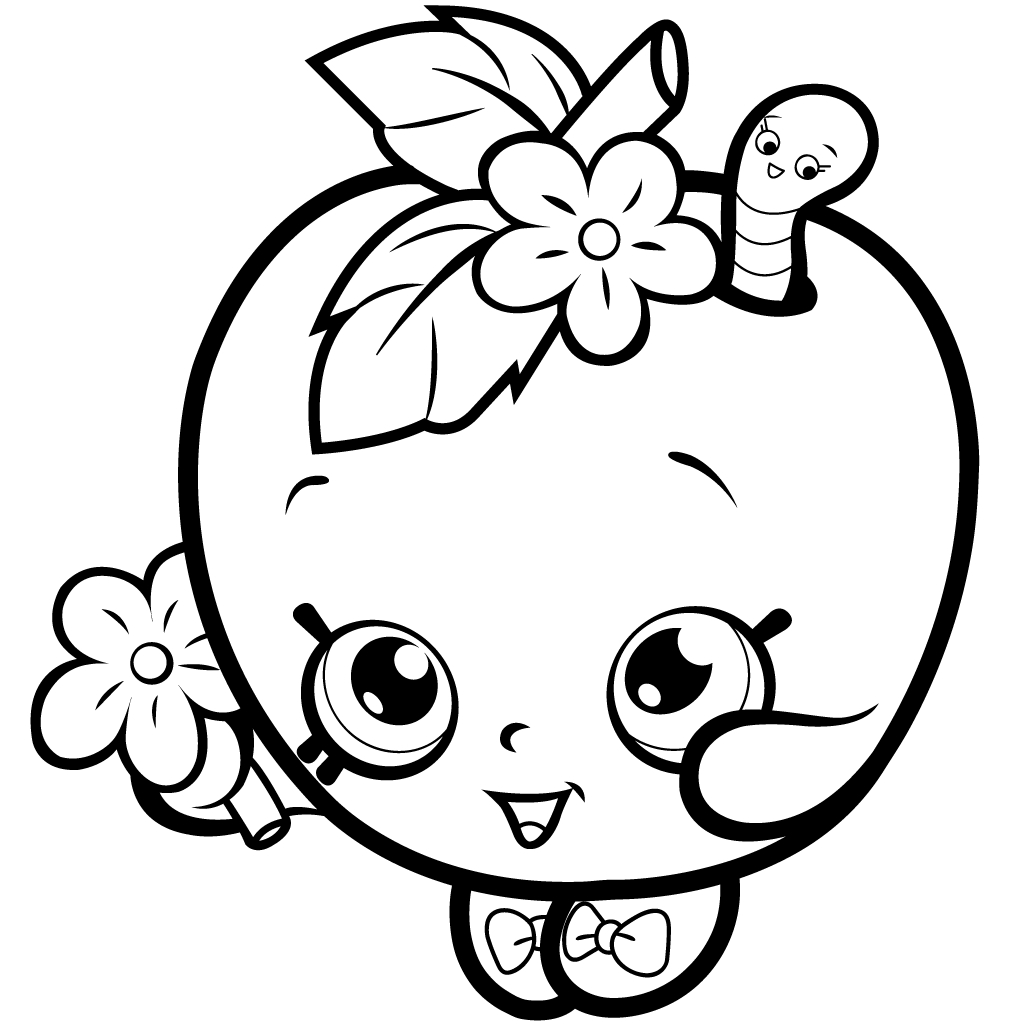 1024x1024 Shopkins Green Apple Coloring Pages Printable