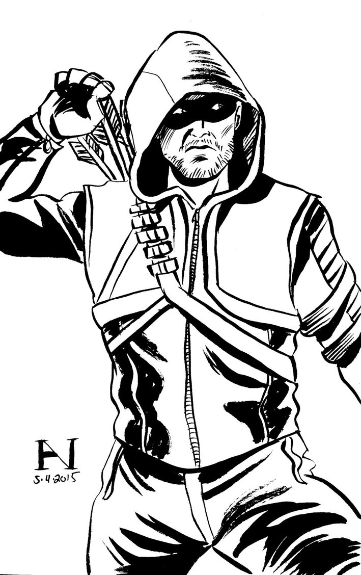 709x1128 Brush And Ink, ~20 Minutes. For L Green Arrow