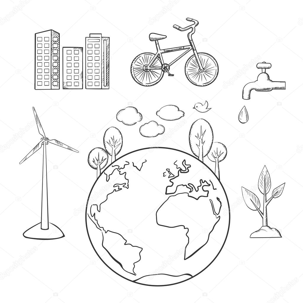1024x1024 Environment, Green Energy And Ecology Sketches Stock Vector