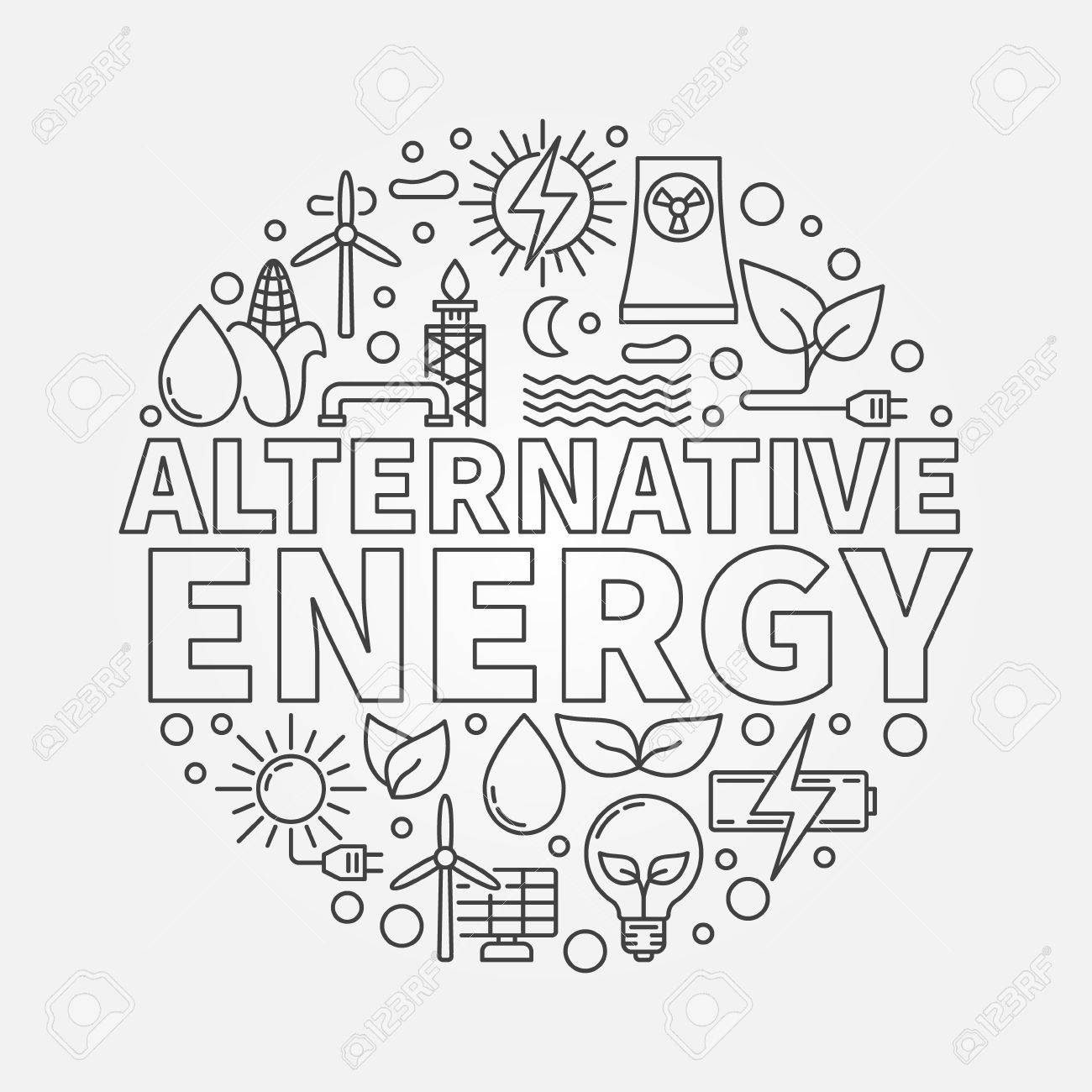 1300x1300 Alternative Energy Round Illustration. Green World And Renewable