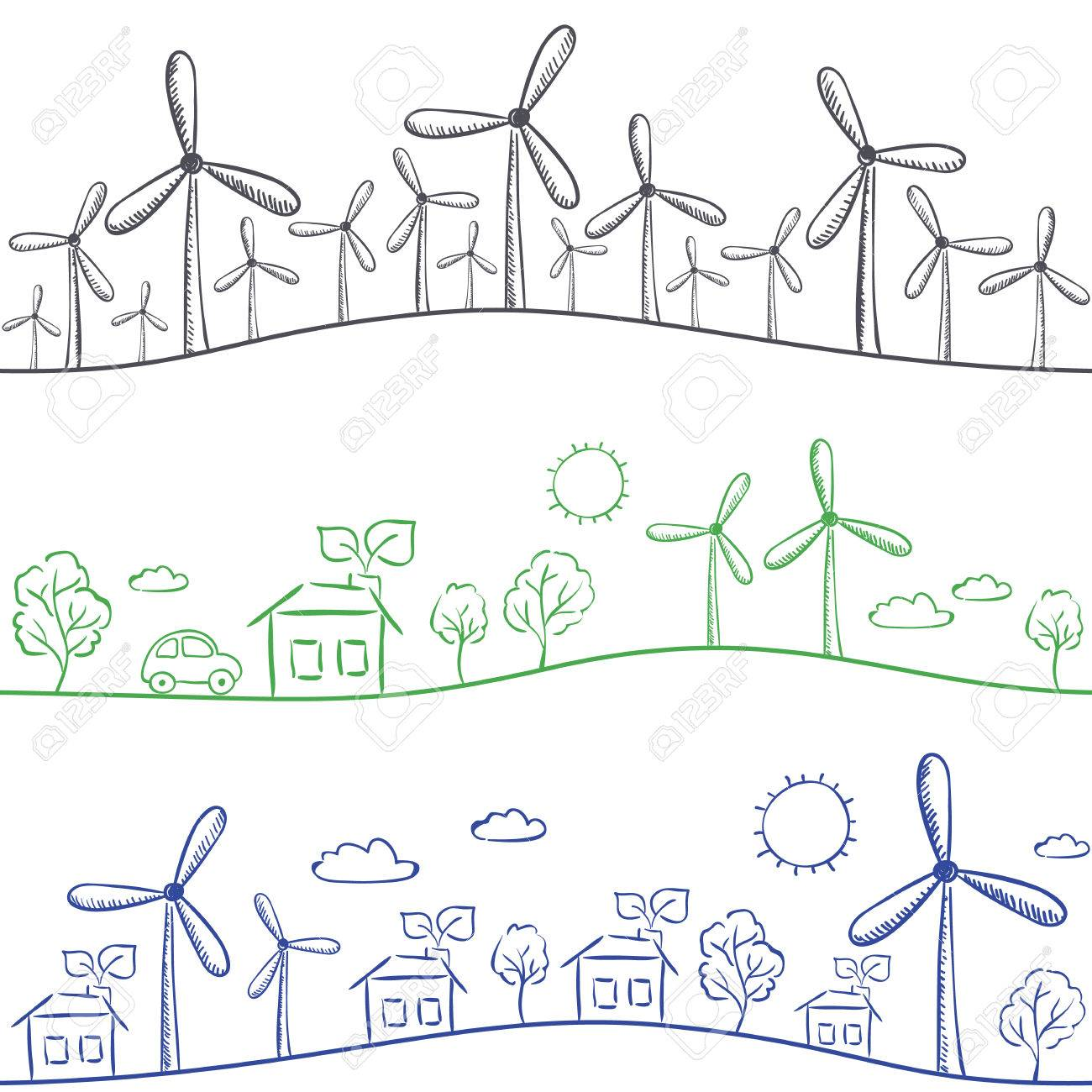 1300x1300 Wind Turbine And Town Seamless Background