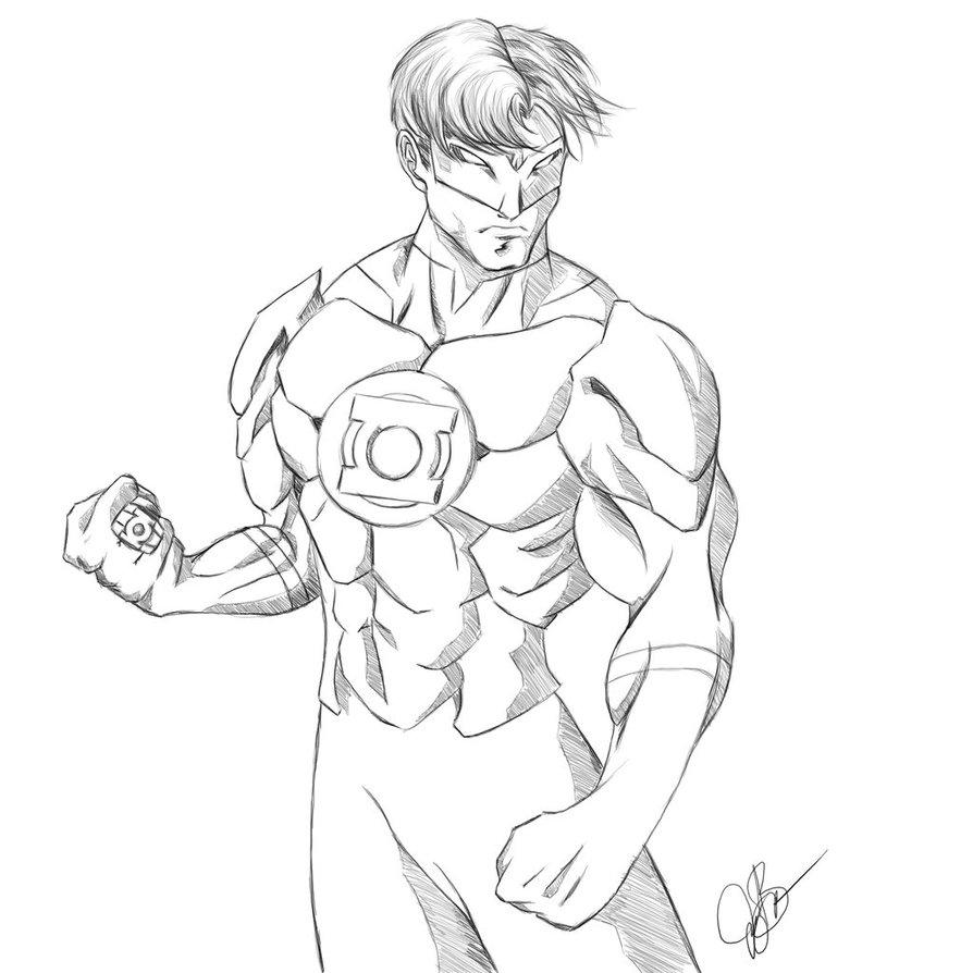 894x894 Green Lantern (Hal Jordan) Sketch By Joeybowsergraphics
