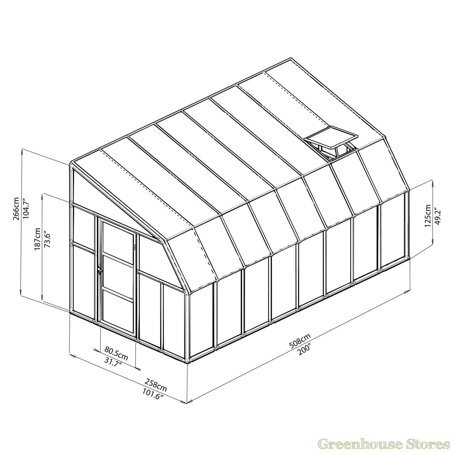 1500x1500 Rion Sun Room 8x16 Lean To Greenhouse Polycarbonate