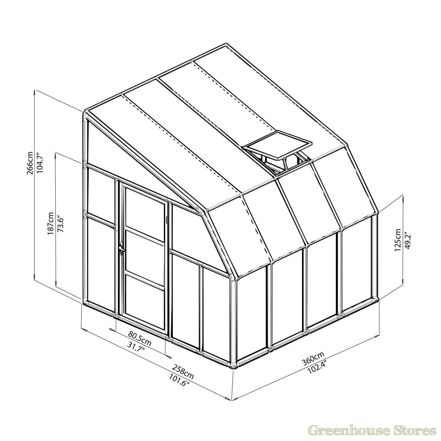 1500x1500 Rion Sun Room 8x8 Lean To Greenhouse Polycarbonate