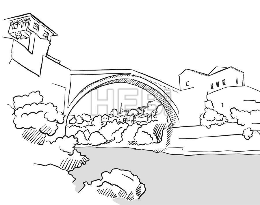900x710 Mostar Bridge Bosnia Herzegovina Greeting Card Sketch Hebstreits