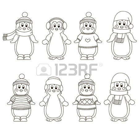 450x450 Cute Hand Drawn Penguins Set. Merry Christmas Greetings Royalty