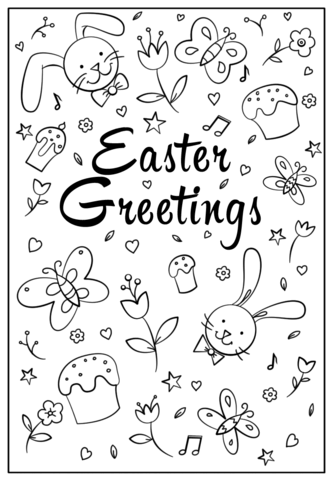333x480 Easter Greetings Doodle Coloring Page Free Printable Coloring Pages