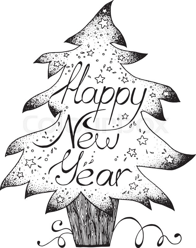 634x800 Hand Drawn Greetings Card Happy New Year, Black And White Graphic