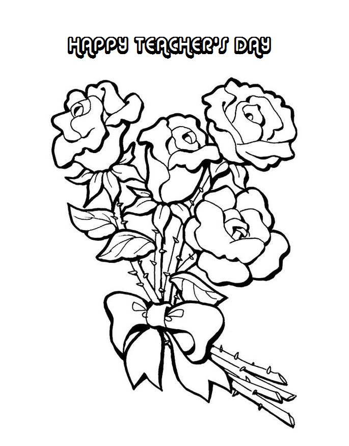 685x874 Happy Teacher's Day Flowers Coloring Pages Greeting Card