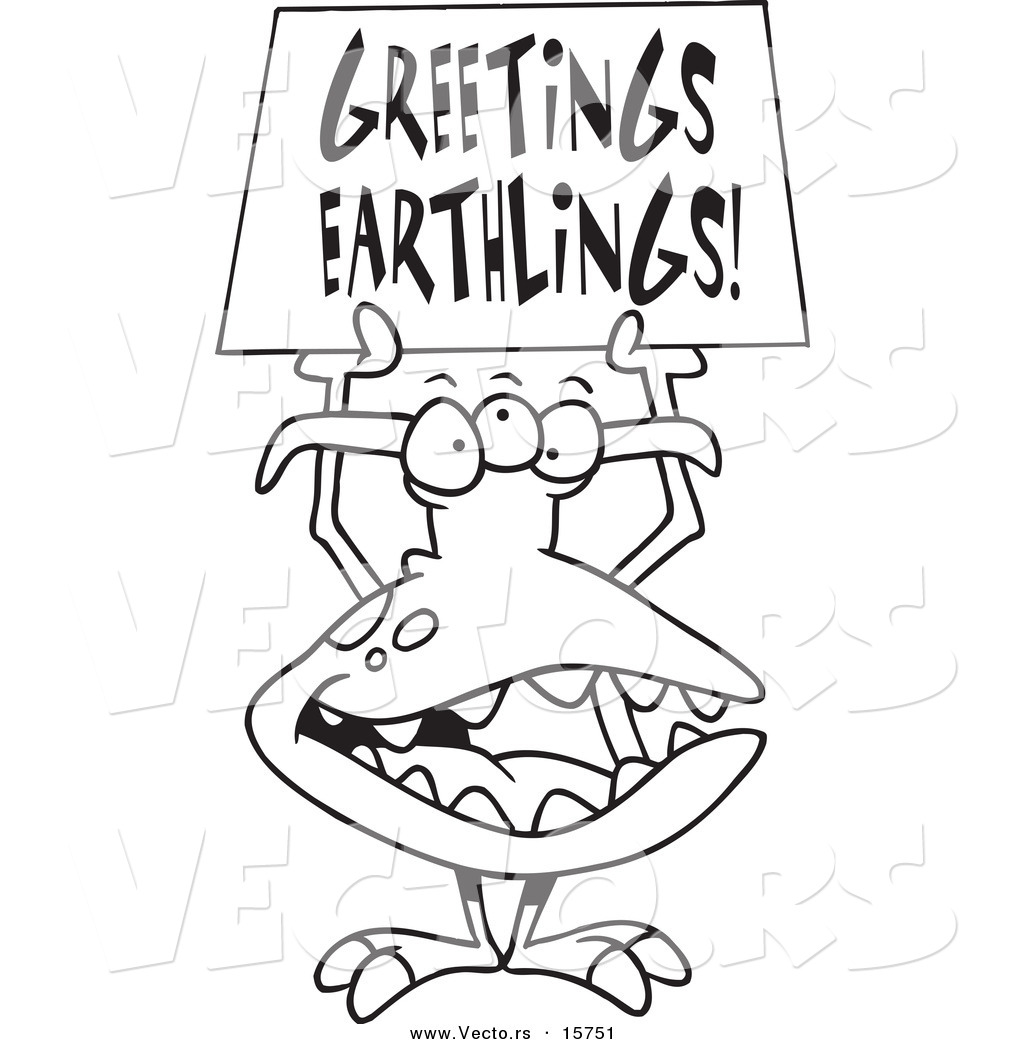 1024x1044 Vector Of A Cartoon Greeting Alien