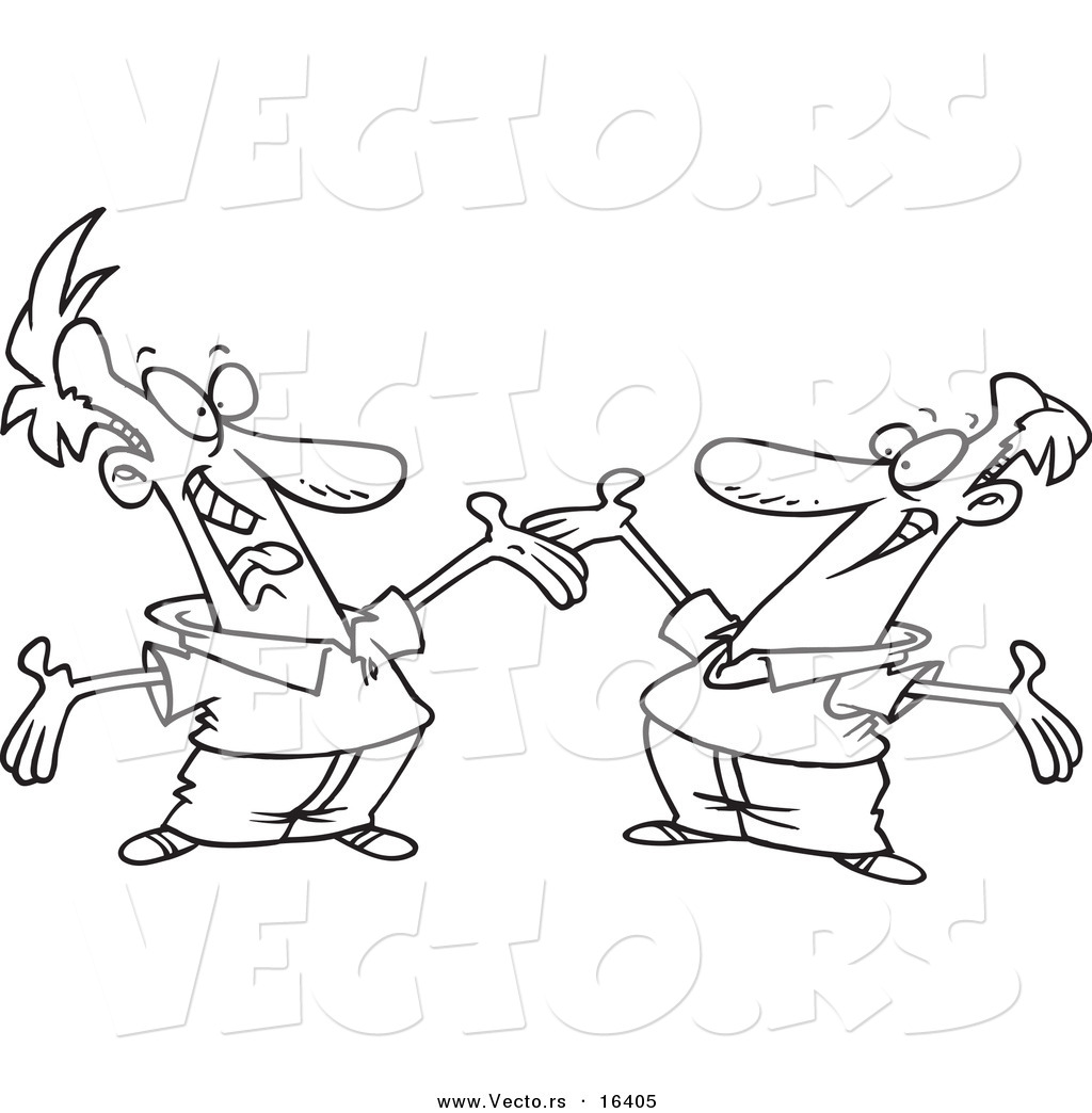 1024x1044 Vector Of A Cartoon Two Happy Men Greeting Each Other
