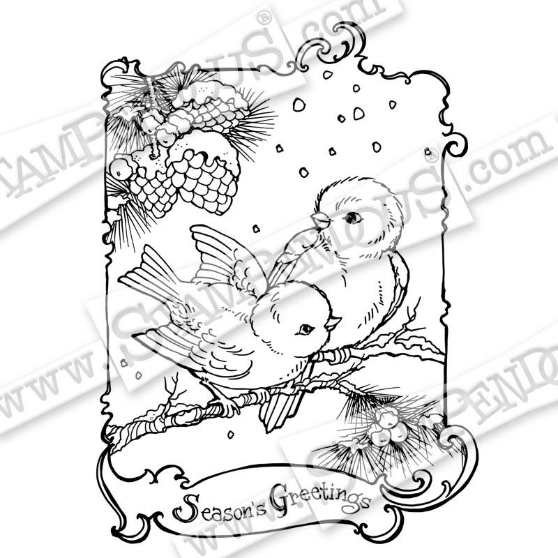 800x800 Birdie Greetings Rubber Stamp