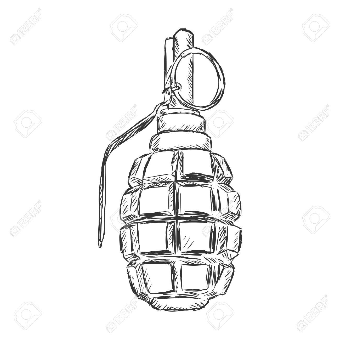 1300x1300 Vector Sketch Hand Grenade On White Background Royalty Free