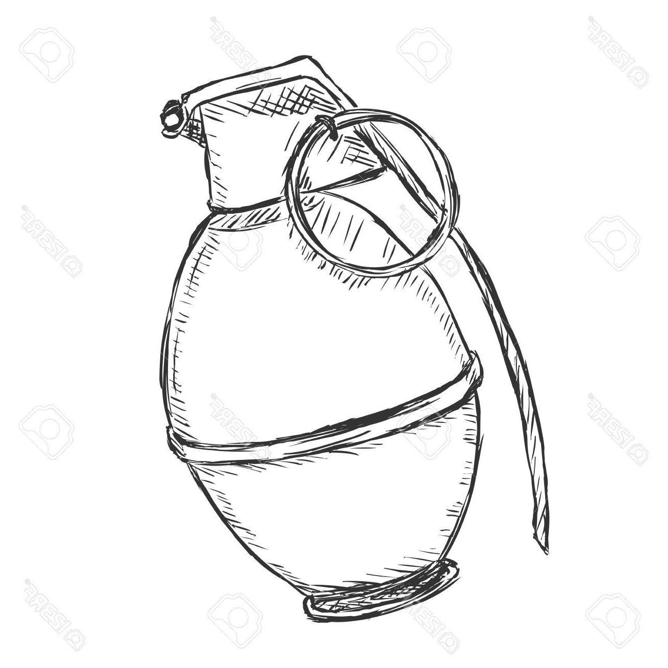 1300x1300 Best 15 Vector Sketch Hand Grenade On White Background Stock Image
