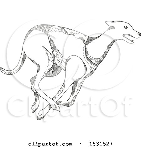 450x470 Clipart Of A Racing Greyhound Dog, Black And White Continuous Line
