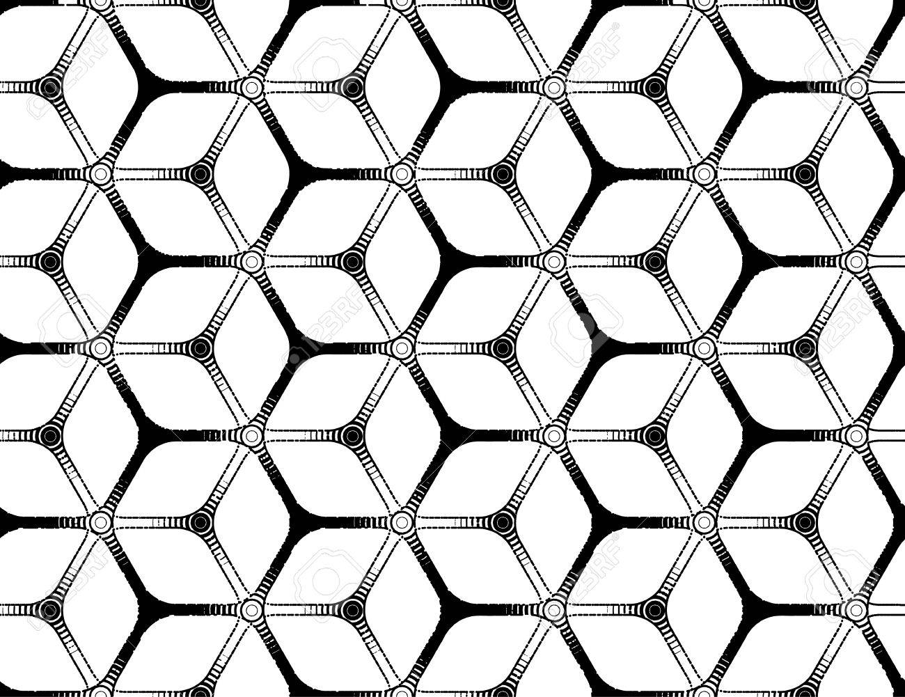 1300x1001 Rough Drawing Styled Futuristic Hexagonal Seamless Grid Royalty