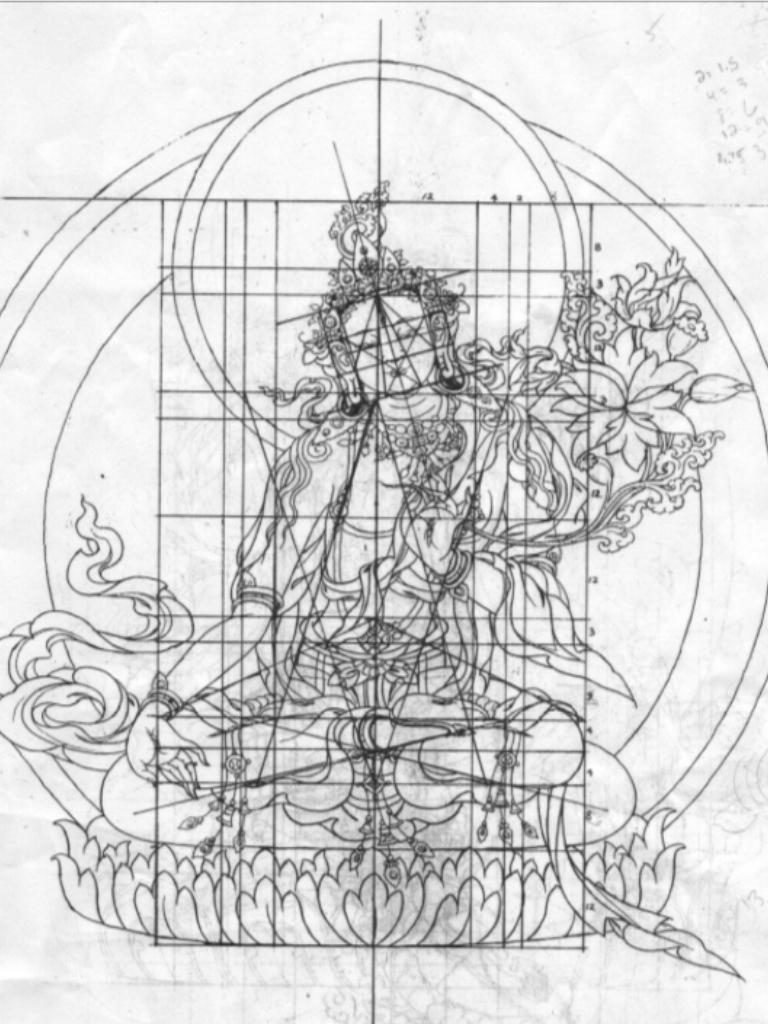 768x1024 White Tara Grid Bodhisattva Fox Sketches, Art