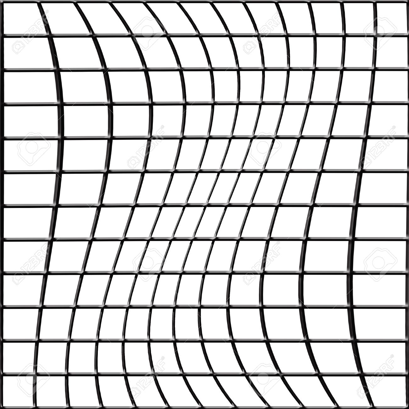 1300x1300 Distorted 3d Bent Fence Grid On A White Background Stock Photo
