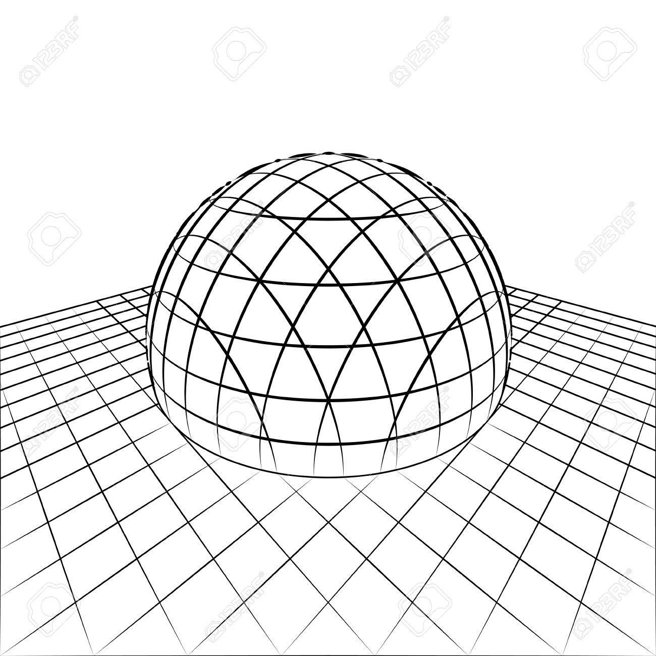 1300x1300 Half Sphere In Grid Line Perspective Drawing Illustration Royalty