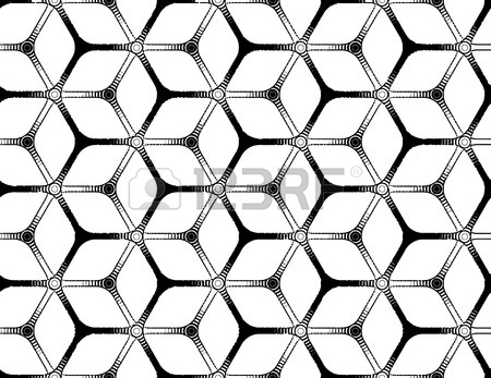 450x347 Rough Drawing Styled Futuristic Hexagonal Seamless Grid Royalty