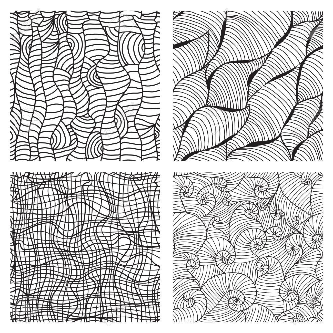 1299x1300 Set Of 4 Elegant Seamless Patterns With Decorative Waves, Wood