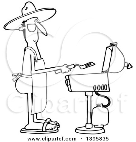 450x470 Clipart Of A Cartoon Nude White Man Wearing An Apron And Cooking