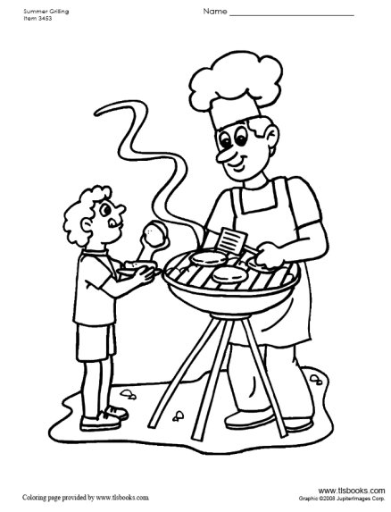 438x573 Father And Son By The Grill Coloring Page