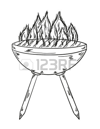 347x450 Sketch Of The Grill With Big Flames On White Background Royalty