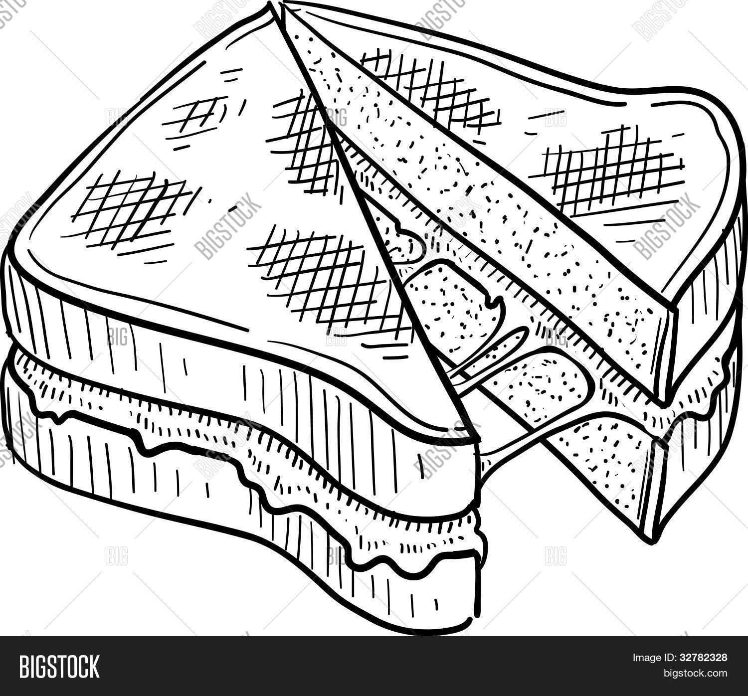 1500x1396 Grilled Cheese Sandwich Sketch Vector Amp Photo Bigstock