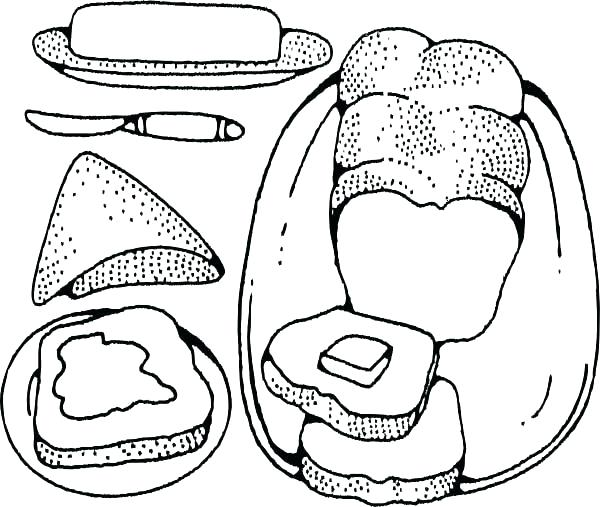 600x507 Cheese Coloring Pages Bread Coloring Page Bakery Bread Butter