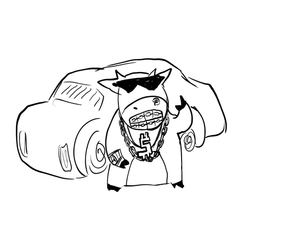 600x480 Cool Cow With Grillz And Car By Mof Bleah