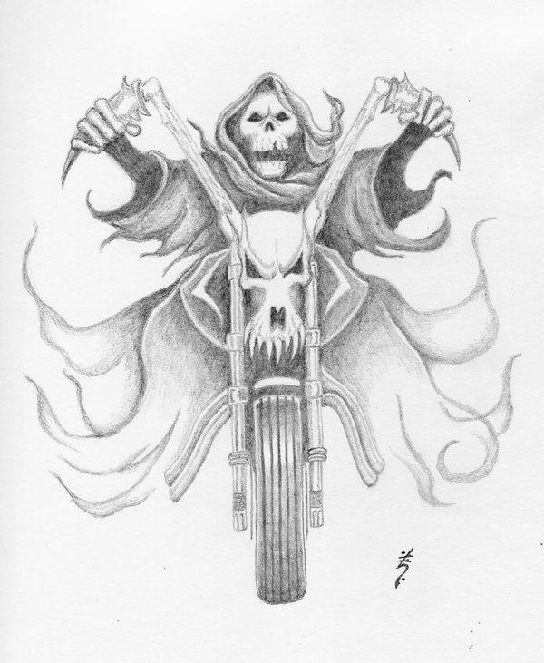 600x731 Grim Reaper Bike Tattoo Sketch Tattoo Amp Tegninger