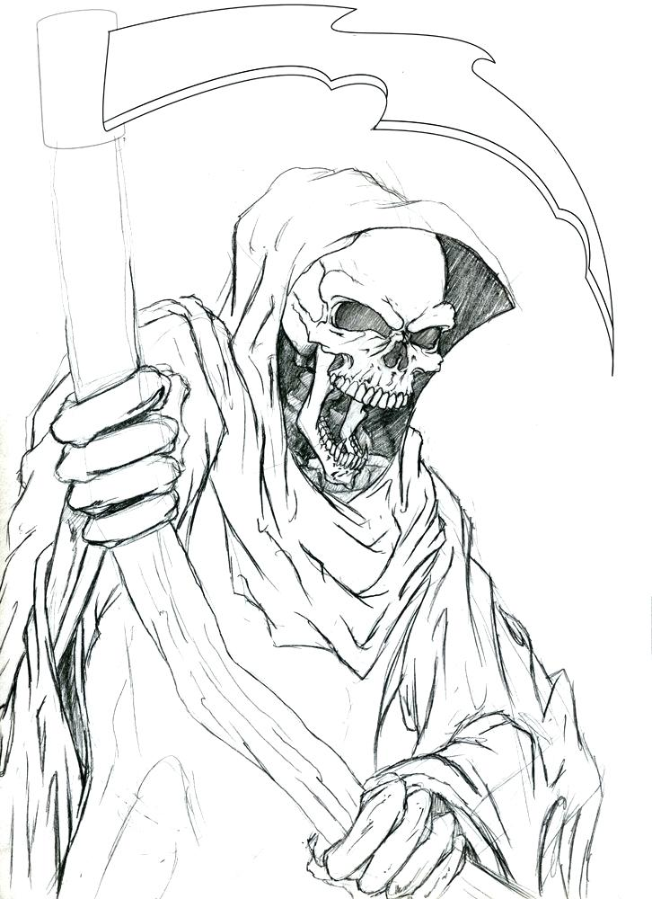 726x1000 Grim Reaper Coloring Pages Evil Grim Reaper Colouring Pages Page